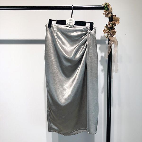 2019 novas mulheres de moda de metal cor de prata cintura alta drapped patchwork midi longo OL festa saia S M L