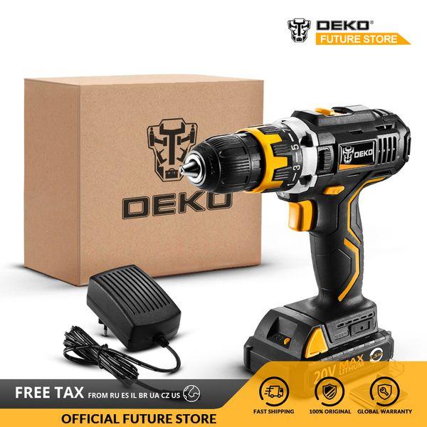 DEKO GCD20DU2 20V MAX Taladro destornillador eléctrico de iones de litio Mini controlador de potencia 15 + 1Settings velocidad variable Standard Set