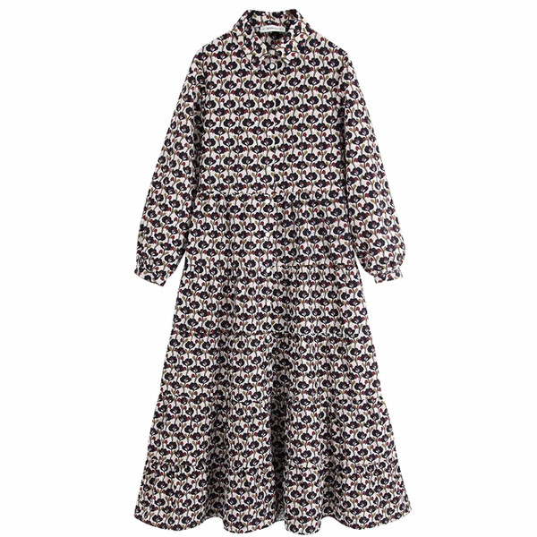 women vintage floral priting casual loose long dress autumn ladies long sleeve single breasted vestidos party dresses ds2952
