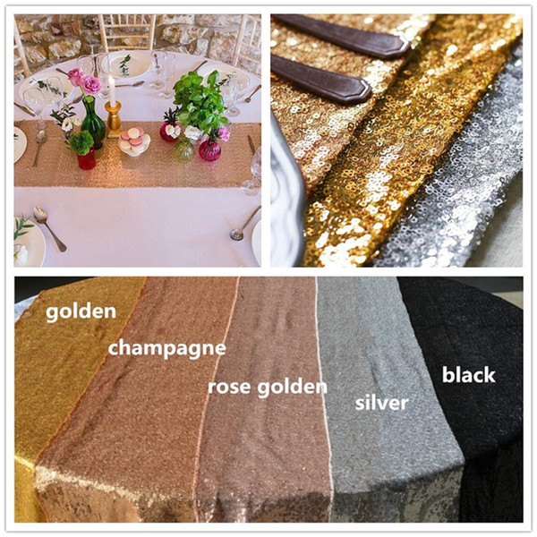 10pcs Fabric Table Runner Gold Silver rose pink Sequin Table Cloth Sparkly Bling for Wedding Party Decoration Products Supplies C175