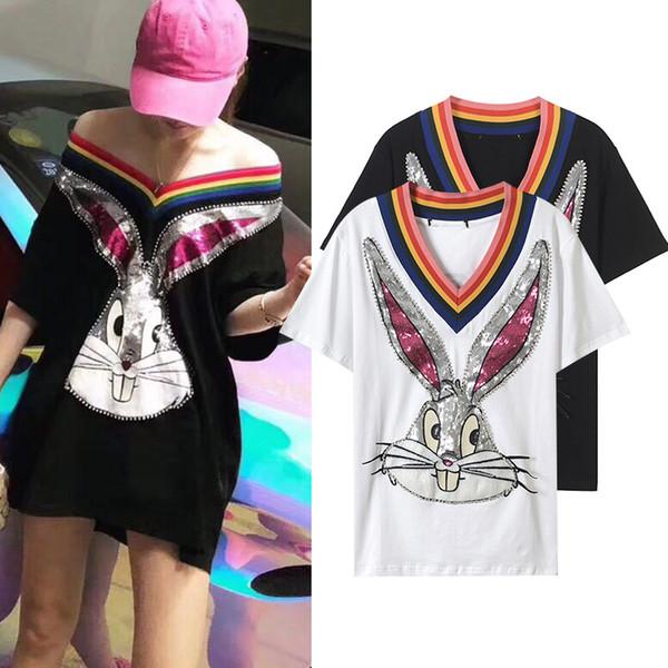 Mode-Schwarz / Weiß Kurzarm Cartoon Print Damen T Shirts Marke gleichen Stil Kaninchen Print T Shirts Frauen 35