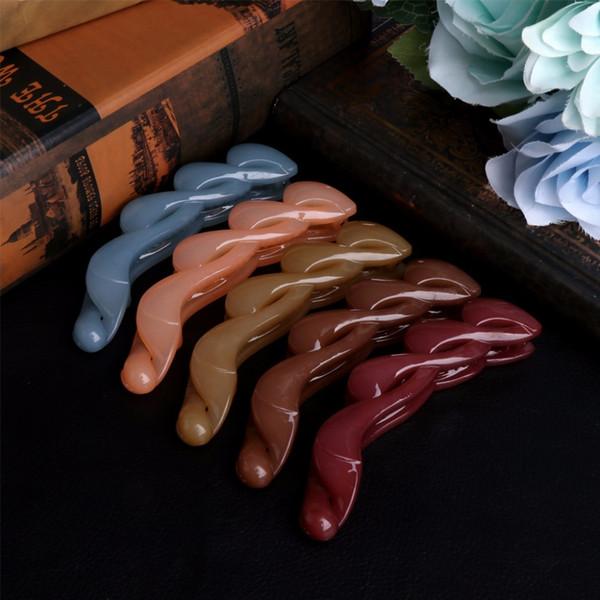 1 PC Clamp Banana Shape Hair Grip Clip Korean Hairpin Ponytail Holder Women Girls Headwear Blue/Brown/Khaki/Peach Red/Purple Red