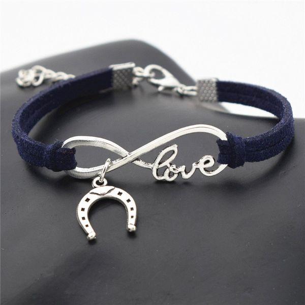 Silver Infinity Love Horseshoe Horse Hoof Pendant Bracelets for Women Men Handmade Navy Blue Leather Suede Rope Cuff Charm Fine Jewelry Gift