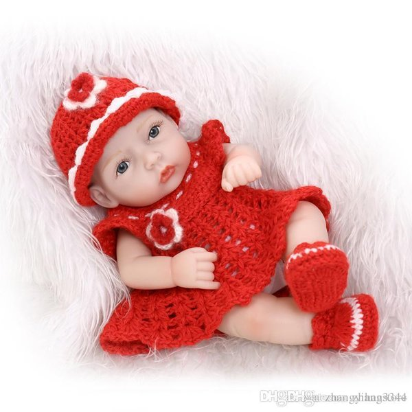 25cm Full silicone reborn baby dolls toy for kids lifelike mini newborn girls bibies birthday gift bedtime bath shower toy