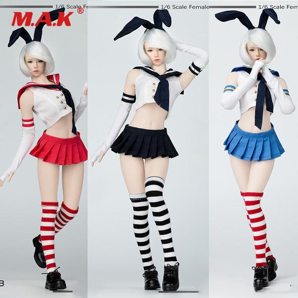 MM013 Cosplay 4 Renkler 1/6 Seksi Kadın Figürü Giyim Iki Boyutlu Sailor Suit Tavşan Kulak 12 inç Action Figure Seamles için