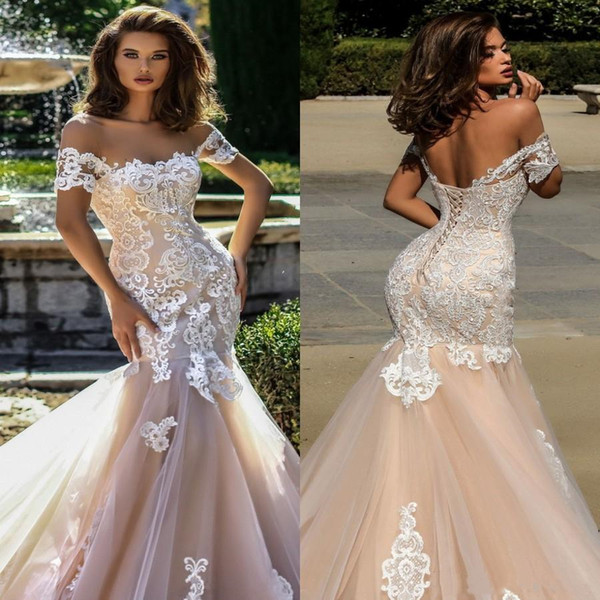 Sexy Champagne Mermaid Wedding Dresses New 2019 Sheer Short Sleeves Tulle Lace Appliques Corset Backless Bridal Dress Wedding Gowns