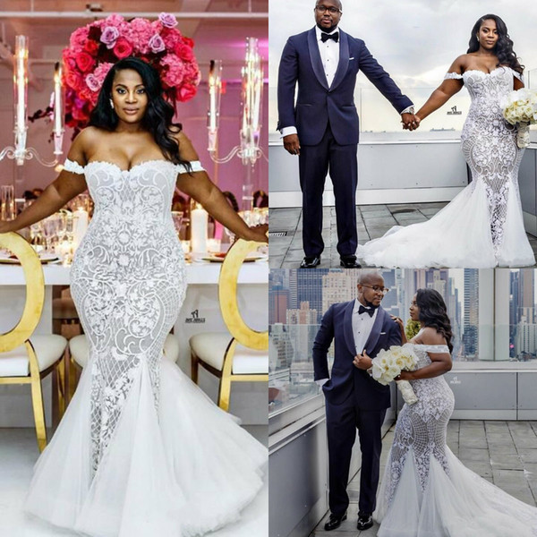 best selling Mermaid Wedding Dresses Modest Off Shoulder Plus Size Trumpet Bridal Gowns Custom Made Sweep Train Lace African Wedding Dress