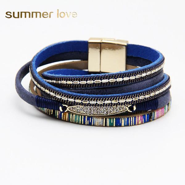 2019 New Multilayer Magnetic Buckle PU Leather Bracelet for Women Men Boho Fashion Crystal Bracelets Trendy Jewelry Gift 2019