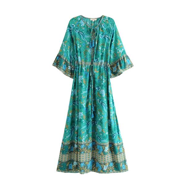 Maxi Dress Women Summer Flare 3/4 Sleeve V-neck Long Cardigan Style Floral Print Vintage Bohemian Beach Travel Dresses Boho Loose Long Dress