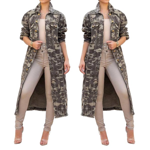 Camo Women Trench 2019 Women Spring Denim Jean Basic Casual Long Trench Coat Loose Femme Plus Size Casual Party Long Outerwear
