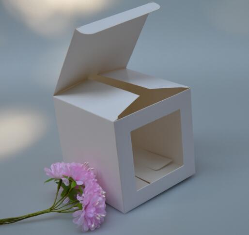 7x7x7cm blanc boîte de cadeau de fenêtre de papier carton, cube boîte de papier cube avec fenêtre claire, emballage de savon artisanat boîte d'emballage