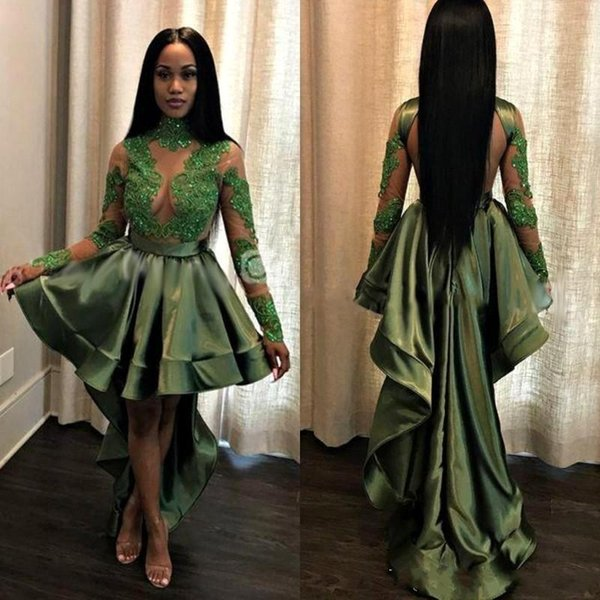 Olive Green High Low Short Cocktail Dresses 2020 New Long Sleeves White Lace Applique Open Back Prom Gowns For Graduation Homecoming Wear
