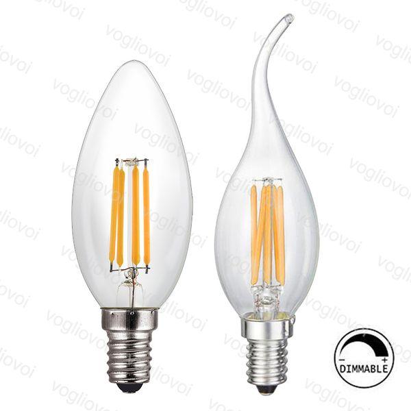 Araña Iluminación Regulable LED Filamento C35 Vela Bombilla 2W 4W 6W E14 Bombillas Luz Alta Brillante Vidrio claro Lámpara led EUB
