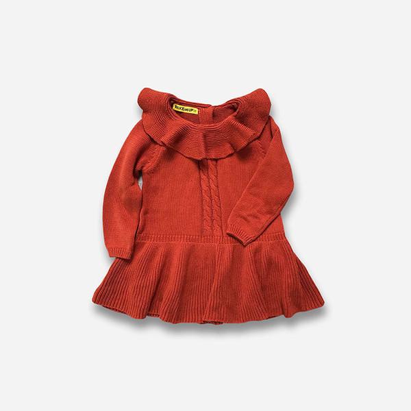 2019 Autumn Winter Girl Dress Cotton Knitting Tulle Baby Girl TuTu Dress Long Sleeve Knit Sweater Baby Girl Ruffles Dress 1-9y