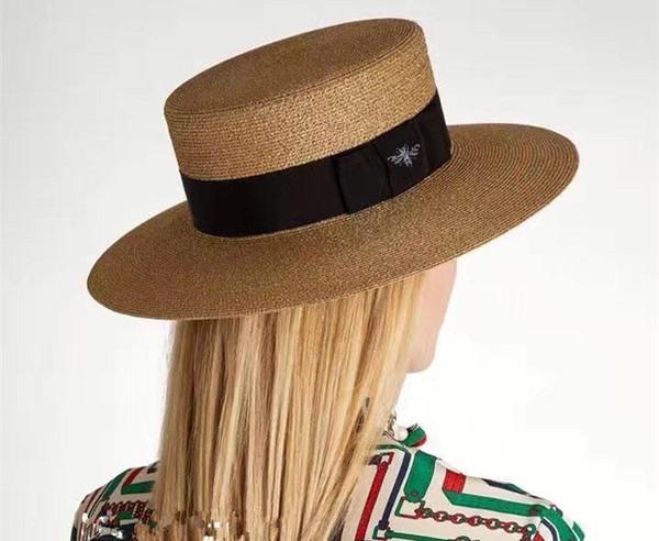Оптом-Весной и летом новый ретро золотой плетеный соломенная шляпа с плоской головкой леди пчела широкие карнизы солнцезащитный крем шляпа от солнца