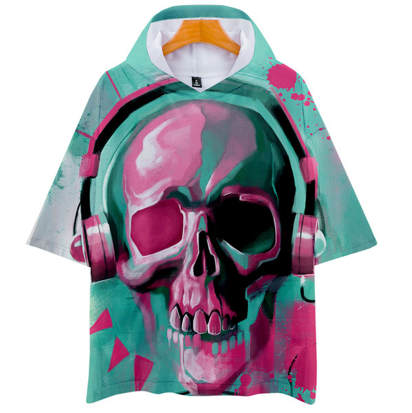 Human Trend Skeleton Head Digital Printing 3d Belt Cap Short Sleeve Shirt Men And Women T Shirts