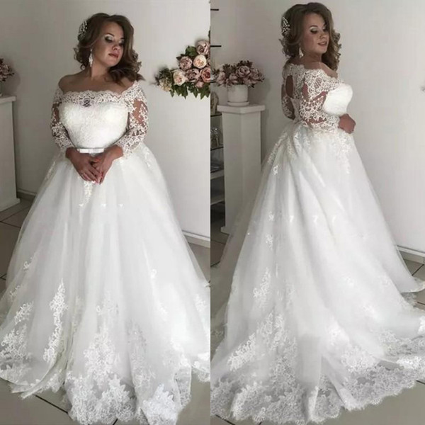 Discount Modest Plus Size Wedding Dresses Off Shoulder 3/4 Long Sleeve  Appliques Illusion Open Back Garden Bridal Gowns Robe De Mariée Wedding  Dress ...