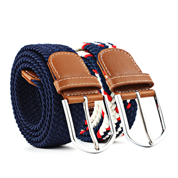explosive models ladies canvas belt men's elastic belt casual elastic knitting pin buckle