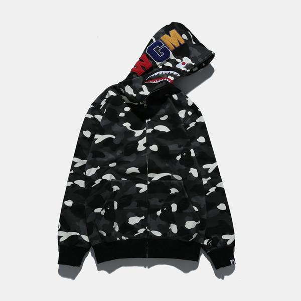 mens designer hoodies Paragraph Super Spring Brand Shark Head Starry Sky Speckle Camouflage Noctilucan Male Even Cap Cardigan Plus Velvet
