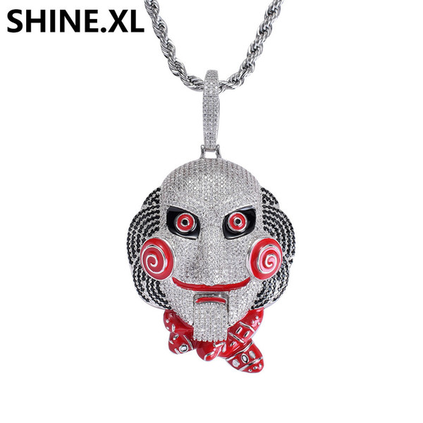 Hip Hop Iced Out Big Size 6ix9ine Pendant Necklace Chain Gold Silver Plated Zircon Doll Mask Necklace Men Bling Jewelry