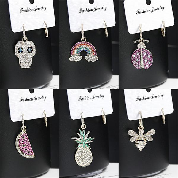 Luxury S925 Fresh Fruit Earrings Fashion Sterling Silver Earrings Ladybug Bee Studs Designer Women Temperament Pineapple Watermelon Wedding