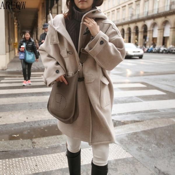 Dame fille manteau étudiant longueur moyenne capuche manches longues bouton corne bouton de la mode pour l'hiver jl