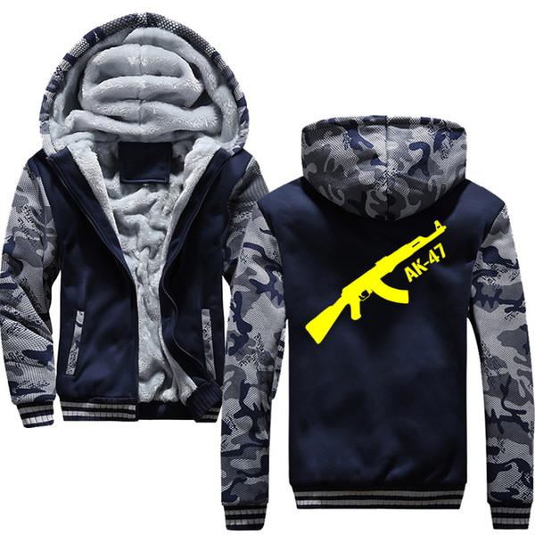 European Russian men's sweatshirt fashion streetwear AK47 printing winter men's hoodie wool lining thick warm casual zipper jacket