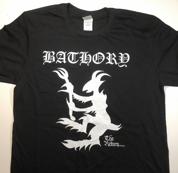 Bathory - The Return ... Camiseta - L / Celtic Frost, Immortal, Watain, Darkthrone Hombres Mujeres Unisex Camiseta de moda FreeCool Top Tee Negro