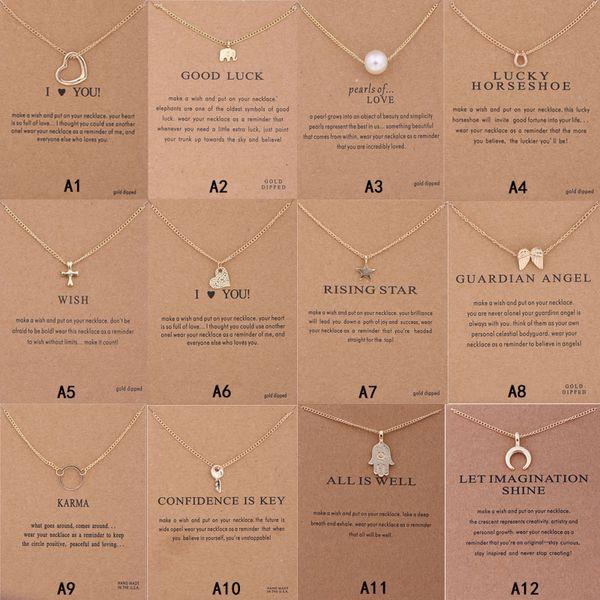 Collana Dogeared Con carta regalo Elephant Pearl Love Wings Croce chiave Segno zodiacale Bussola pendente di loto per le donne Gioielli di moda K4551