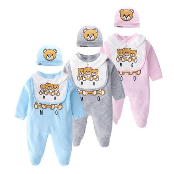 Venta al por menor 2019 Baby Romper + babero + sombrero Conjunto de 3 piezas Primavera Otoño Ropa de niño Ropa de niña recién nacida Cuello de muñeca de manga larga Conjunto de monos para bebés