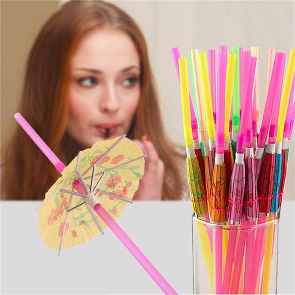 Disposable Drinking Straw Funny Umbrella Design Drink Straws for Island Themed Party Bars Restaurants Supplies Birthday Wedding Decoration