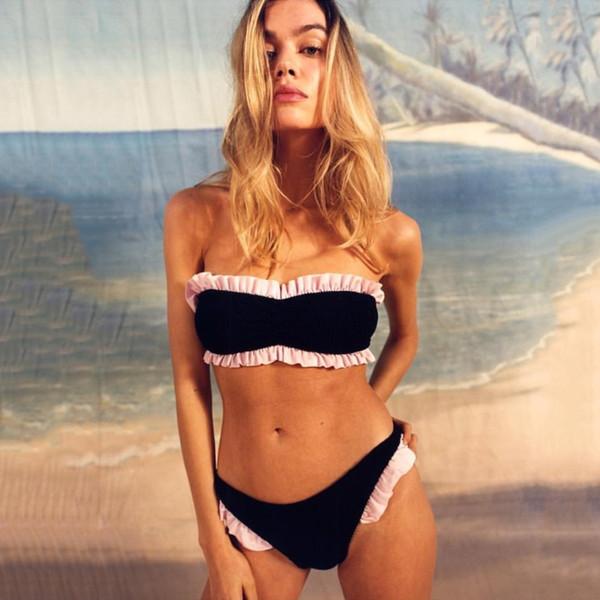modelado duradero sección especial seleccione para genuino Compre 2020 Sexy Ruffles Bandeau Bikini Sets Mujeres Traje De Baño  Brasileño Traje De Baño Ropa De Playa Push Up Swimwear Biquinis Feminino  SO0751 A ...