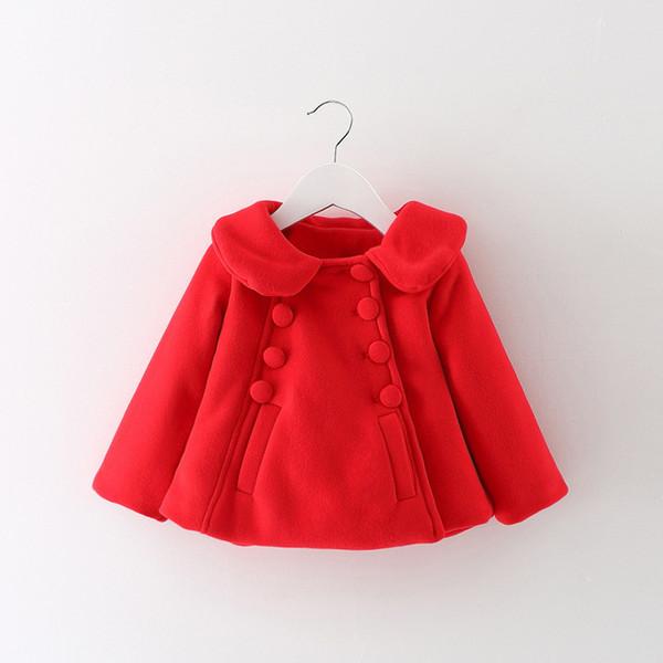 Autumn Winter Baby Girl Infants Kids Turn-Down Collar Double Breasted Little Girls Jackets Woolen Blended Cardigan Outwear Coat