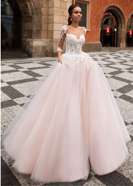 Transparent 3/4 Long Sleeve A Line Wedding Dress Pale Pink White Lace Modern Party Appliques Tulle Bridal Gowns Castle Robe de Mariee