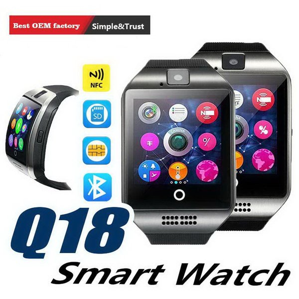 Relógios espertos de Bluetooth do relógio Q18 esperto para o telefone do andróide com conexão do cartão do TF do apoio da câmera Q18 com pacote de varejo