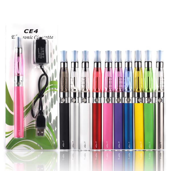 EGO CE4 Blister Pack Starter Kits Electronic Cigarette Kit With 1.6ml Atomizer 650mah 900mah 1100mah EGO-T Battery DHL