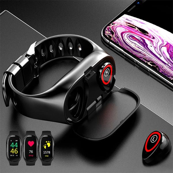 Bracelet TWS Bluetooth 5.0 Écouteur Sans Fil Casque Pour Téléphone Montre Smart Watch Avec Moniteur de Fréquence Cardiaque True Wireless Stéréo Sport Écouteurs