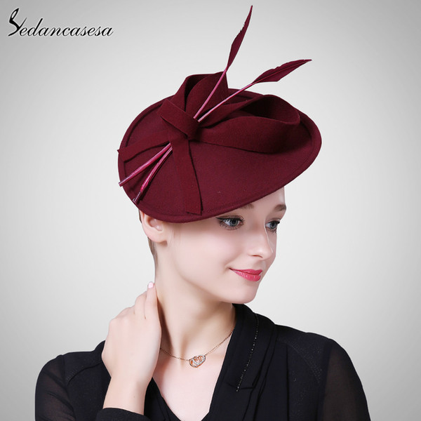 Sedancasesa Wedding Fascinator cocktail hats for women French Formal Wool Hat Ladies Party hat girl Hair Band Accessories