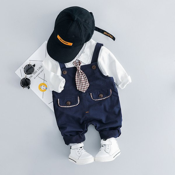 Toddler Baby Boy Tie Clothes Set 2019 Newest Spring Cartoon Clothing For Toddler Letter T shirt + Pants Outfit 1 2 3 4 Years