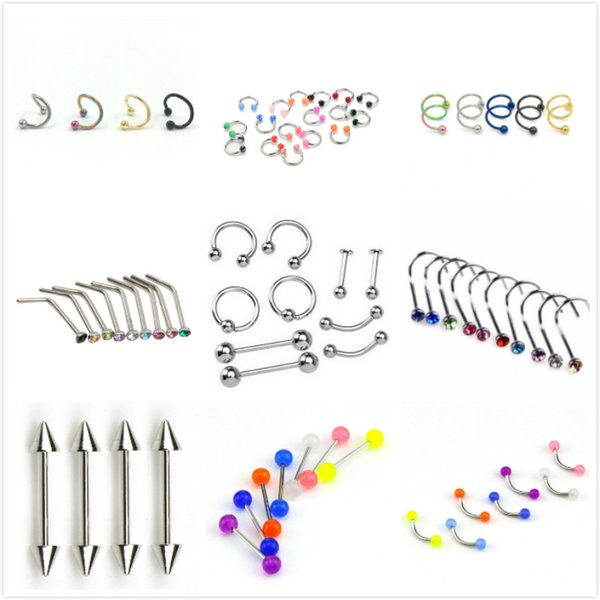 10pc Steel Belly Button Piercings Ear Stud Segment Ring Nose Ring Lip Eyebrow Piercings Industrial Barbell Body Jewelry Piercing
