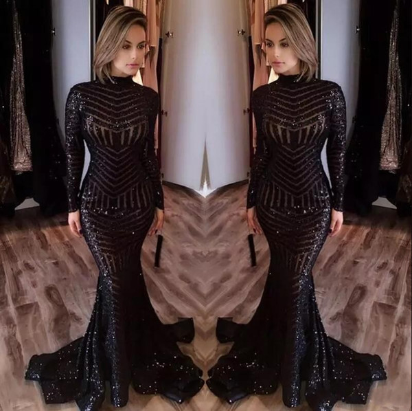 2019 Hot Sale Cheap Long Evening Dresses High Neck Long Sleeves Floor Length Memraid Prom Party Dresses Formal Evening Gowns Custom Made m-9