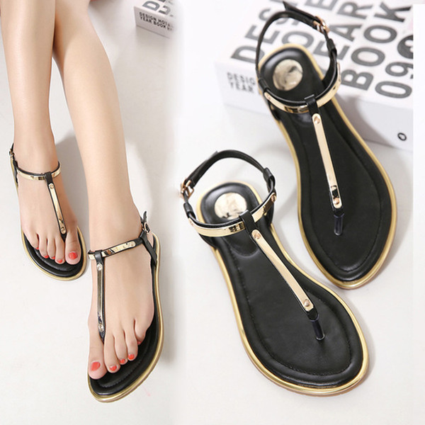 Boho Metal T-Straps Sandals Flat Buckle Strap Leather Sandals Thong Gladiator Flip Flops Casual Beach Shoes Black Gold PU Shoes