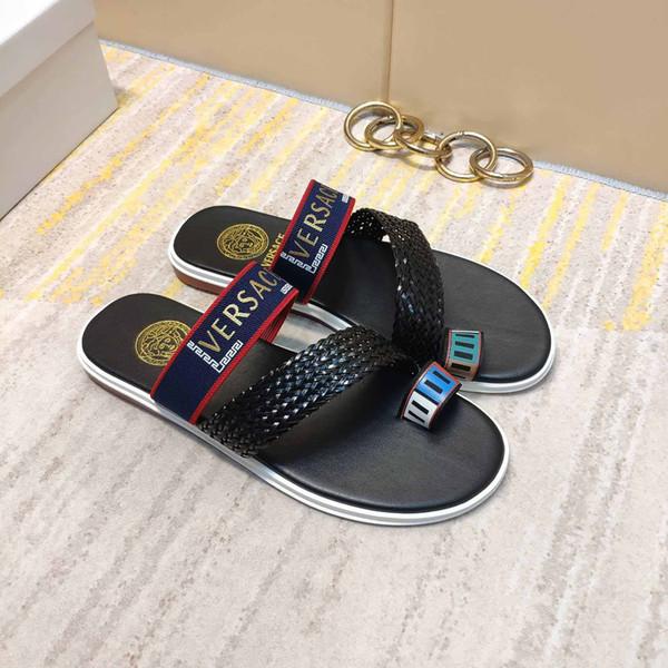 Nouvelle marque italienne été pantoufles hommes qualité cuir plage appartement à fond plat chaussures pour hommes occasionnels livraison gratuite taille 40-44 taille