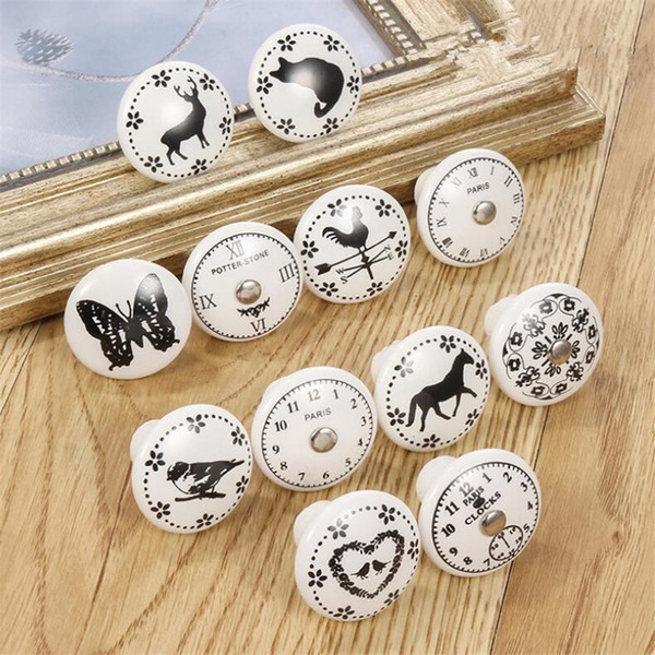 top popular Hot Garden Home Black & White Printed Decorative Round Ceramic Knob, Cabinet Hardware, Modern Wardrobe Furniture Door Handle Drawer pulls 2021