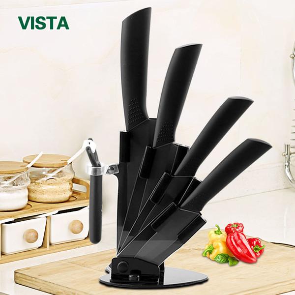 Ensemble de couteaux en céramique Accessoires de couteaux de cuisine 3 pouces à parer 4 pouces utilitaire 5 pouces à trancher couteau de chef 6 pouces + support + éplucheur lame noire
