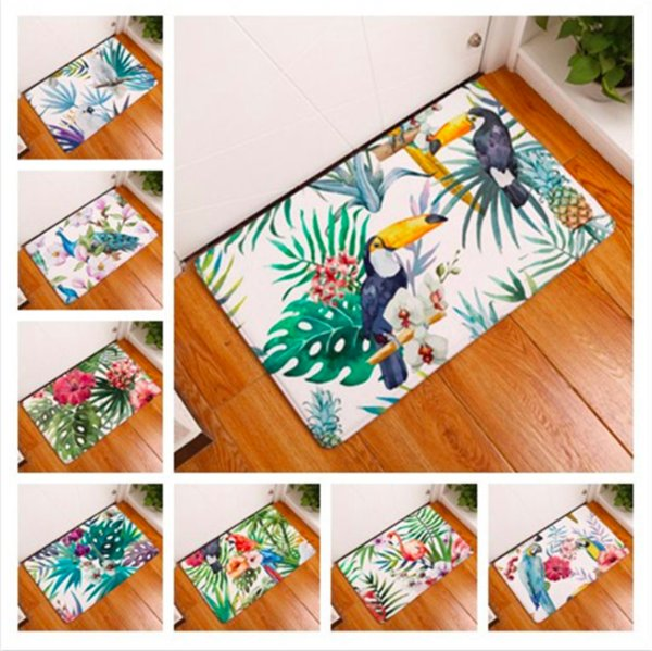 Peacock Parrot Toucan Plant Doormat Bath Kitchen Carpet Decorative Anti-Slip Mats Room Car Floor Bar Rugs Door Home Decor Gift
