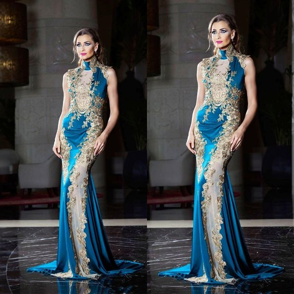 Elegant Blue Mermaid Dresses Evening Wear High Neck With Gold Sequins Beaded Lace Appliques Tony Chaaya New 2019 Sheer Prom Party Gowns Long