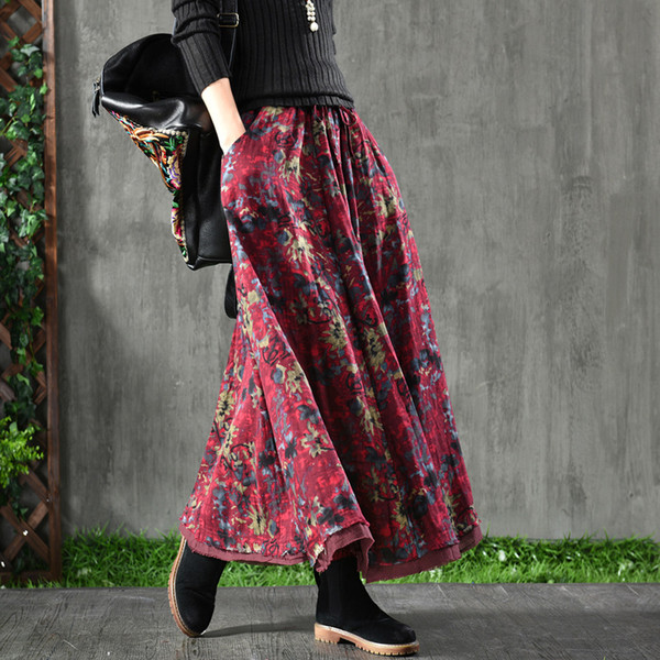 Women Vintage Skirts Double-Layer Spring 2019 New Cotton Linen Comfortabe Soft Floral Print Loose A-Line Casual Red Gray Coffee Skirts