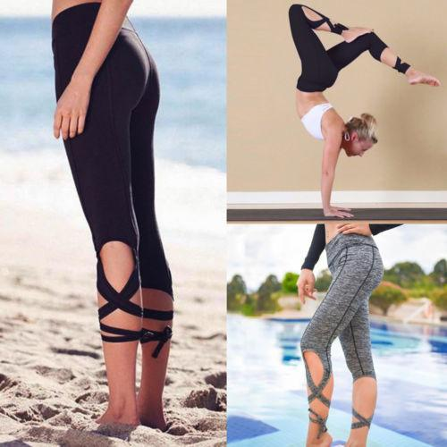 Yoga Pants Women Seven Fitness Sport Leggings High Waist Cross Yoga Ballet Dance Tights Bandage Cropped Pants Running Tights