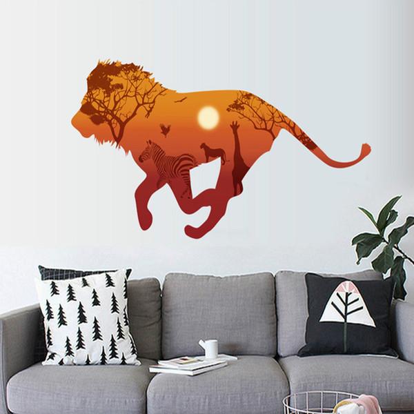 Goldener Sonnenuntergang Wand Dekor Lion Cucoloris Wandaufkleber für Zeichnung Wohnzimmer Dekor Landschaft Poster Wandtapete Wandtattoos